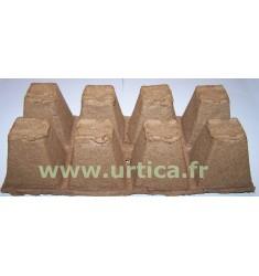 10 plaques de 8 pots carrés 6cm biodégradables en tourbe