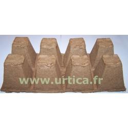 10 plaques de 8 pots carrés 6cm biodégradables